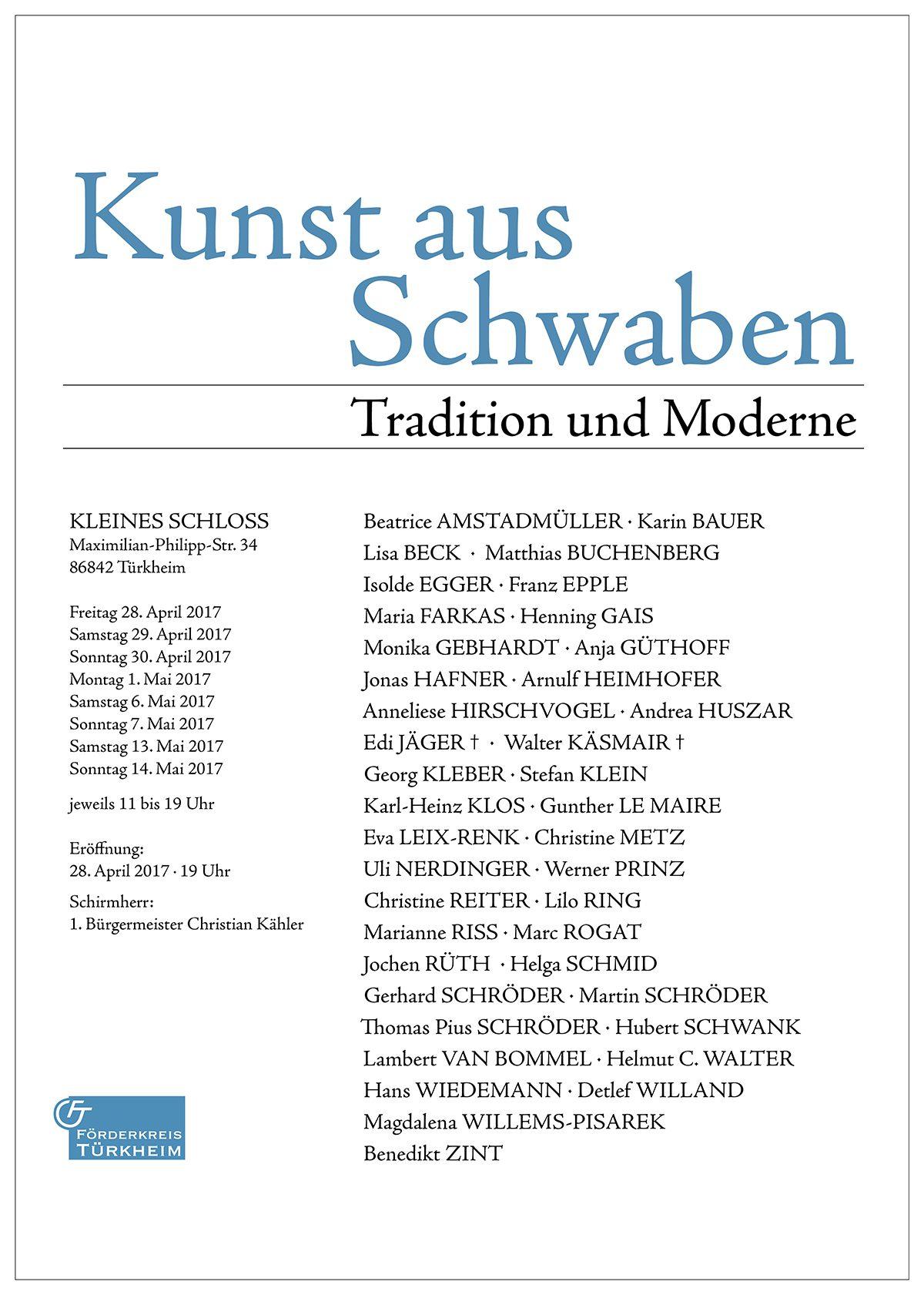 Kunst aus Schwaben – Tradition und Moderne (28. April – 14. Mai 2017)