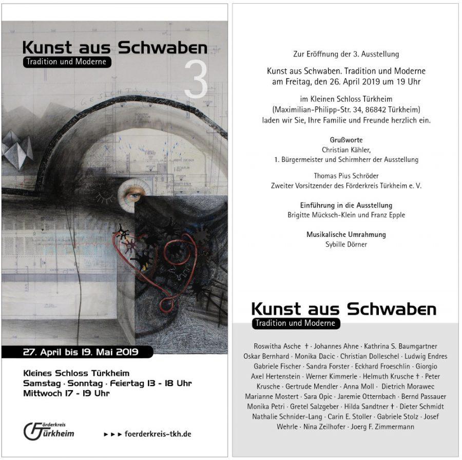 Kunst aus Schwaben (3) – Tradition und Moderne 27. April – 19. Mai 2019  Kleines Schloss Türkheim